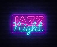 Vetor do sinal de néon de Jazz Night Sinal de néon do molde do projeto de Jazz Music, bandeira clara, quadro indicador de néon, b ilustração stock