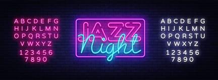 Vetor do sinal de néon de Jazz Night Sinal de néon do molde do projeto de Jazz Music, bandeira clara, quadro indicador de néon, b ilustração royalty free
