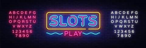 Vetor do sinal de néon do jogo dos entalhes Sinal de néon do molde do projeto de slot machine, bandeira clara, quadro indicador d ilustração do vetor