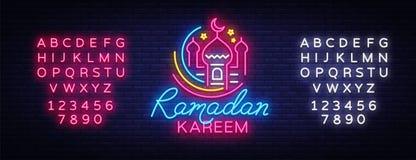 Vetor do sinal de néon de Ramadan Kareem, conceito do molde do projeto do folheto das linhas com crescente colorido e mesquita, i ilustração do vetor
