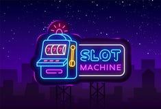 Vetor do sinal de néon do slot machine Sinal de néon do molde do projeto do casino, bandeira clara do slot machine, quadro indica ilustração stock