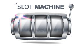 Vetor do slot machine Lucky Empty Slot de prata Elemento grande da bandeira da vitória Roda da rotação Ilustração do casino do ja ilustração do vetor