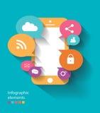 Vetor do telefone celular dos elementos de Infographic liso Fotografia de Stock Royalty Free