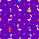 Vetor do teste padrão do Natal do flamingo Fotos de Stock