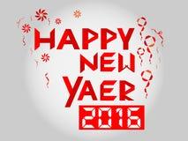 Vetor do texto da fita de Digitas do ano novo feliz 2016 Fotografia de Stock