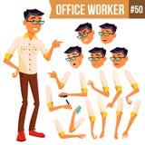 Vetor do trabalhador de escritório Coreano, tailandês, vietnamita Emoções da cara, vários gestos animation Homem de negócios Huma ilustração do vetor