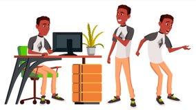 Vetor do trabalhador de escritório emoções lifestyle preto africano Pessoa do negócio poses Vista dianteira, lateral carreira mod ilustração stock