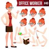 Vetor do trabalhador de escritório Mulher Empregado moderno, trabalhador Mulher de negócio - 2 Emoções, gestos Grupo da criação d ilustração royalty free