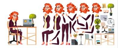 Vetor do trabalhador de escritório Mulher Homem de negócios Human Senhora Face Emotions, vários gestos Grupo da criação da animaç ilustração do vetor