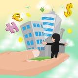 Vetor do trabalho do sucesso do homem de negócio da posse da mão Imagens de Stock Royalty Free