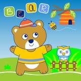 Vetor do urso e da coruja ilustração royalty free