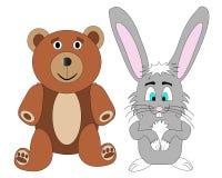 Vetor do urso e do coelho da peluche Fotografia de Stock Royalty Free