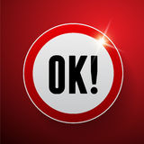 Vetor do vermelho do botão aprovado Imagem de Stock