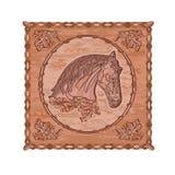 Vetor do vintage do tema da caça do woodcarving do cavalo e do carvalho Fotografia de Stock
