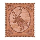 Vetor do vintage do tema da caça do woodcarving dos cervos e do carvalho Imagens de Stock