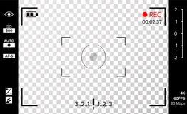 Vetor do visor da câmera Grade da foto ou da câmara de vídeo com ajustes e opções do tiro na tela Gravação conduzida piscada Real ilustração stock