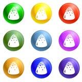 Vetor doce do grupo dos ícones da trufa ilustração royalty free