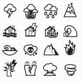 Vetor dos ícones da catástrofe natural Imagens de Stock Royalty Free