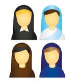 Vetor dos ícones da freira Imagem de Stock