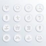 Vetor dos ícones de Eco ajustado (papel) Fotos de Stock Royalty Free