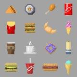Vetor dos ícones do alimento da arte do pixel ilustração royalty free