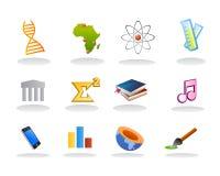 Vetor dos ícones do assunto de escola Imagens de Stock Royalty Free