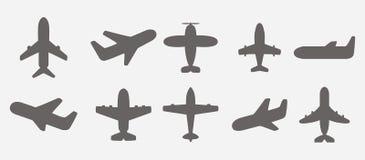 Vetor dos ícones do avião ilustração stock