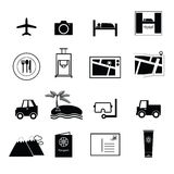 Vetor dos ícones do curso e das férias Fotografia de Stock Royalty Free