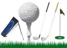 Vetor dos acessórios do golfe ilustração royalty free