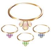 Vetor dos anéis das colares do ouro Imagem de Stock