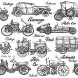 Vetor dos carros Retro, veículos do vintage em um branco ilustração stock