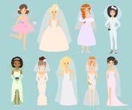 Vetor dos caráteres das noivas do casamento Fotografia de Stock Royalty Free
