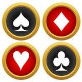 Vetor dos ícones de cartão de jogo Fotografia de Stock