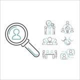 Vetor dos ícones do esboço dos trabalhos de equipa do negócio Imagem de Stock Royalty Free
