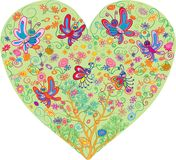 Vetor dos corações com flores e borboletas ilustração do vetor