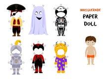 Vetor dos desenhos animados da boneca do papel de Dia das Bruxas Imagens de Stock Royalty Free