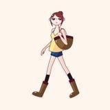 Vetor dos elementos do tema da menina de compra, eps Fotografia de Stock Royalty Free
