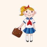 Vetor dos elementos do tema dos desenhos animados do estudante, eps Foto de Stock