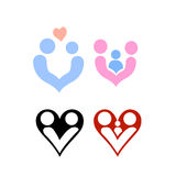 Vetor dos logotipos da família e do projeto do amor Fotografia de Stock Royalty Free