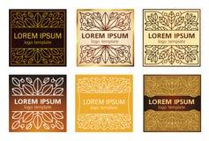 Vetor dos logotipos da planta linear Fotos de Stock