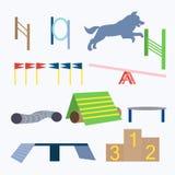 Vetor dos obstáculos do cão da agilidade ilustração stock
