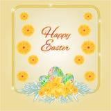 Vetor dos ovos da páscoa e dos narcisos amarelos do quadro Fotografia de Stock Royalty Free