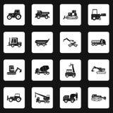 Vetor dos quadrados ajustados dos ícones dos veículos da construção ilustração do vetor