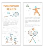 Vetor dos resultados do competiam do folheto do badminton Foto de Stock Royalty Free