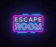 Vetor dos sinais de néon da sala do escape Sinal de néon do molde do projeto da sala do escape, bandeira clara, quadro indicador  ilustração do vetor