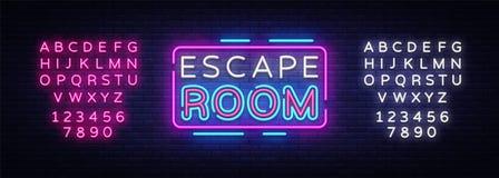 Vetor dos sinais de néon da sala do escape Sinal de néon do molde do projeto da sala do escape, bandeira clara, quadro indicador  ilustração stock