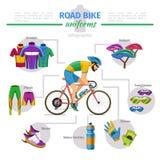 Vetor dos uniformes da bicicleta da estrada infographic Fotos de Stock