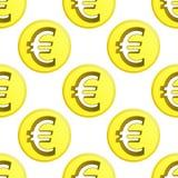 Vetor dourado da telha do teste padrão do símbolo da moeda do Euro Imagem de Stock Royalty Free