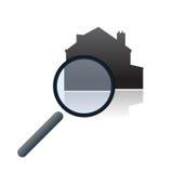 Vetor em linha da busca dos bens imobiliários Fotos de Stock Royalty Free