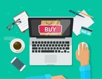 Vetor em linha do conceito da compra, laptop liso do estilo e compra da pessoa do cliente da loja do Internet do comércio eletrón ilustração stock